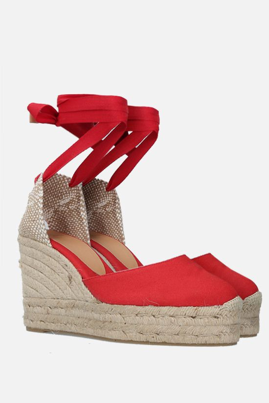 CASTANER: Carina canvas and jute wedge espadrilles Color Red_2