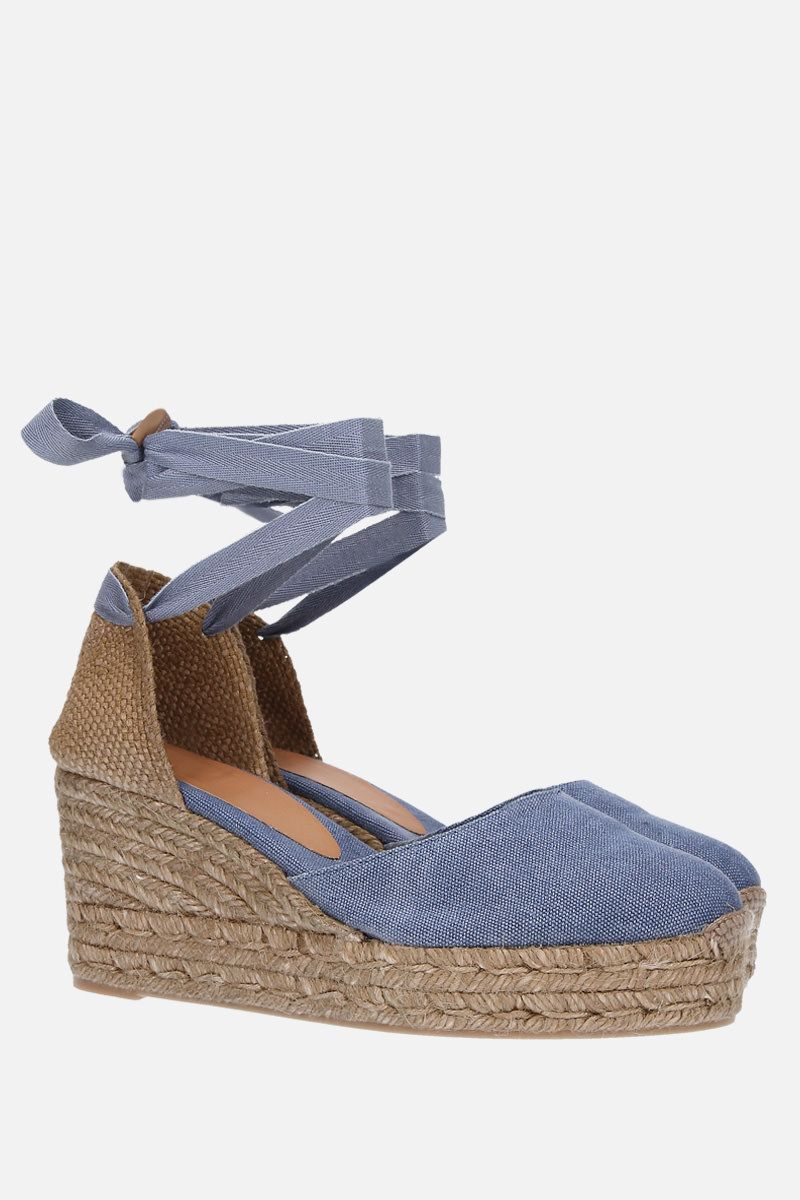 CASTANER: Carina wedge espadrilles in canvas and jute Color Pink_2