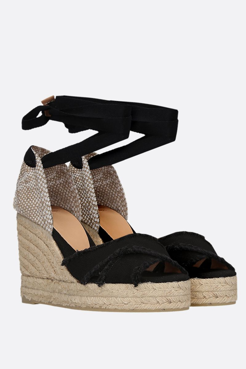 CASTANER: Bluma canvas and jute wedge sandals Color Black_2