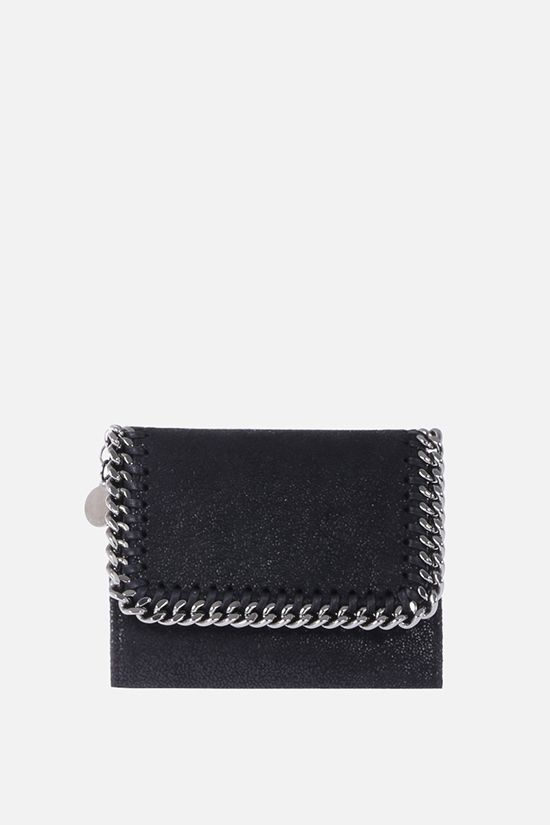 STELLA McCARTNEY: small Falabella Shaggy Deer flap wallet Color Black_1