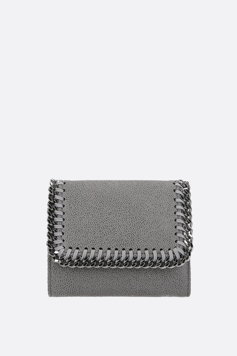 STELLA McCARTNEY: small Falabella Shaggy Deer flap wallet Color Grey_1