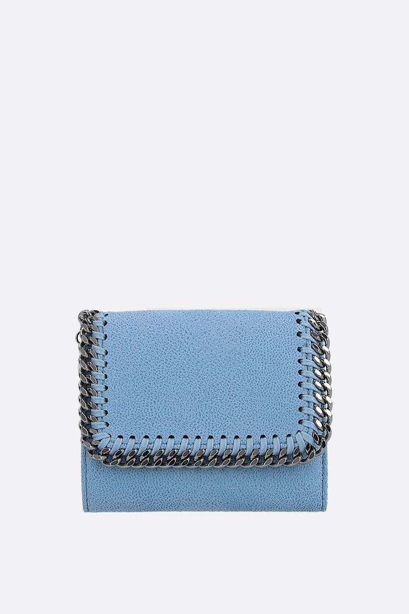 STELLA McCARTNEY: Falabella small flap wallet in Shaggy Deer Color Blue_1