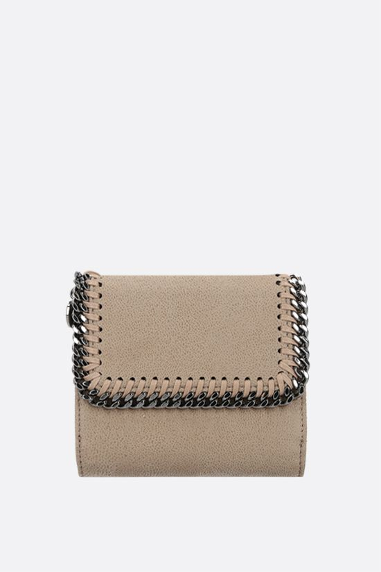 STELLA McCARTNEY: Falabella flap wallet in Shaggy Deer Color White_1