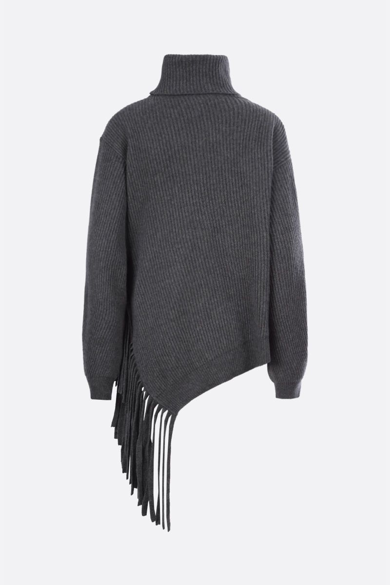 STELLA McCARTNEY: fringe-detailed cashmere wool blend turtleneck Color Grey_2