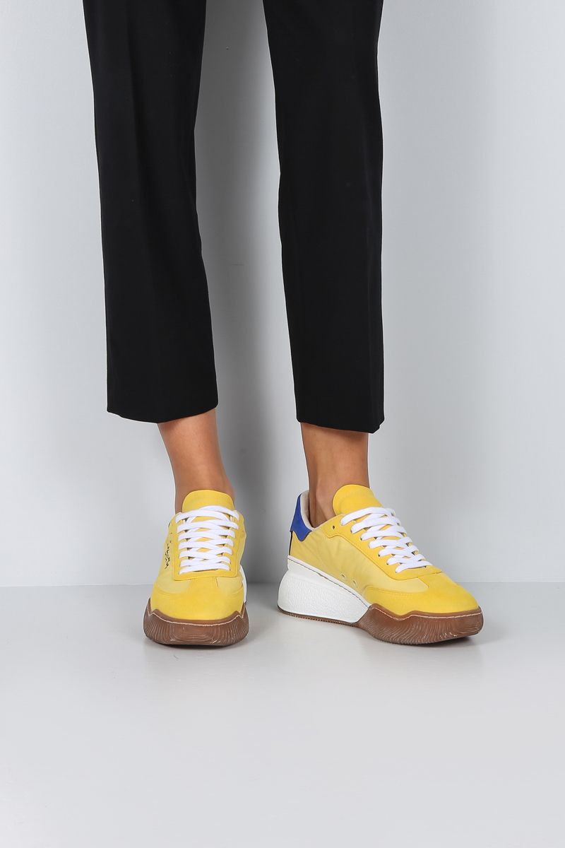 STELLA McCARTNEY: Loop low-top sneakers in nylon and Alter Suede Color Yellow_2