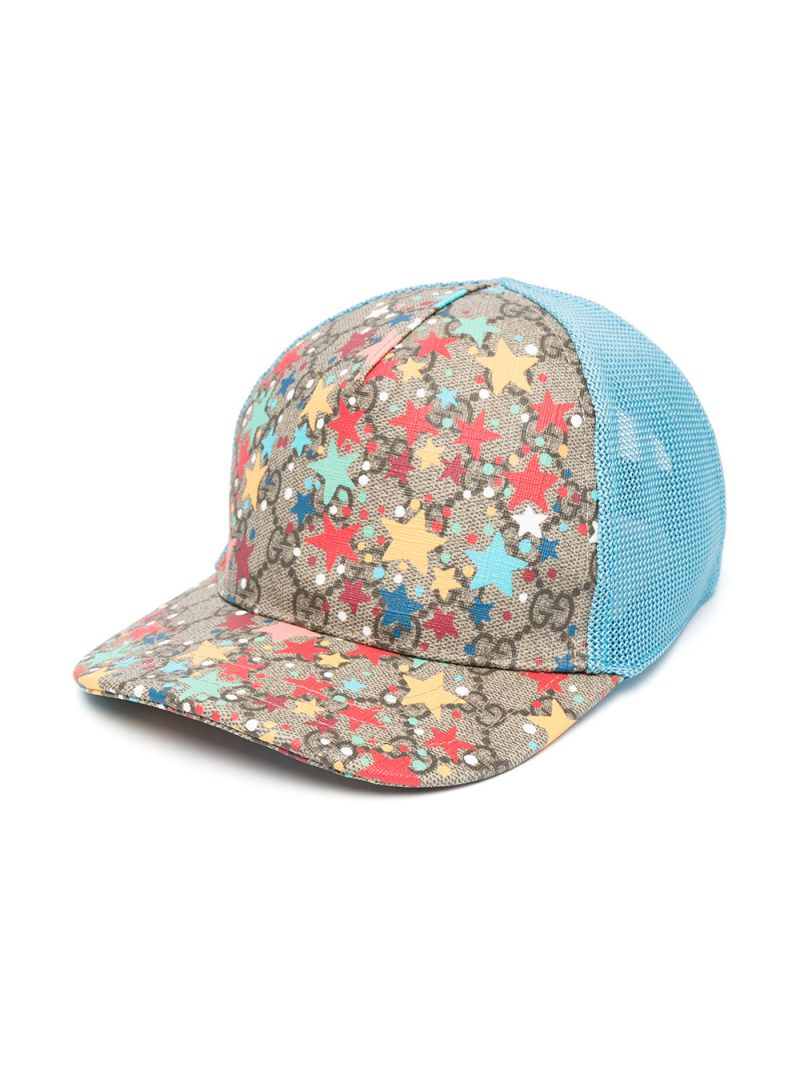 GUCCI CHILDREN: stars print GG Supreme canvas baseball cap Color Multicolor_1
