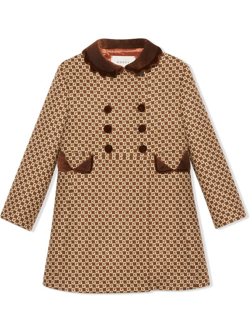 GUCCI CHILDREN: double-breasted GG wool blend coat Color Brown_1