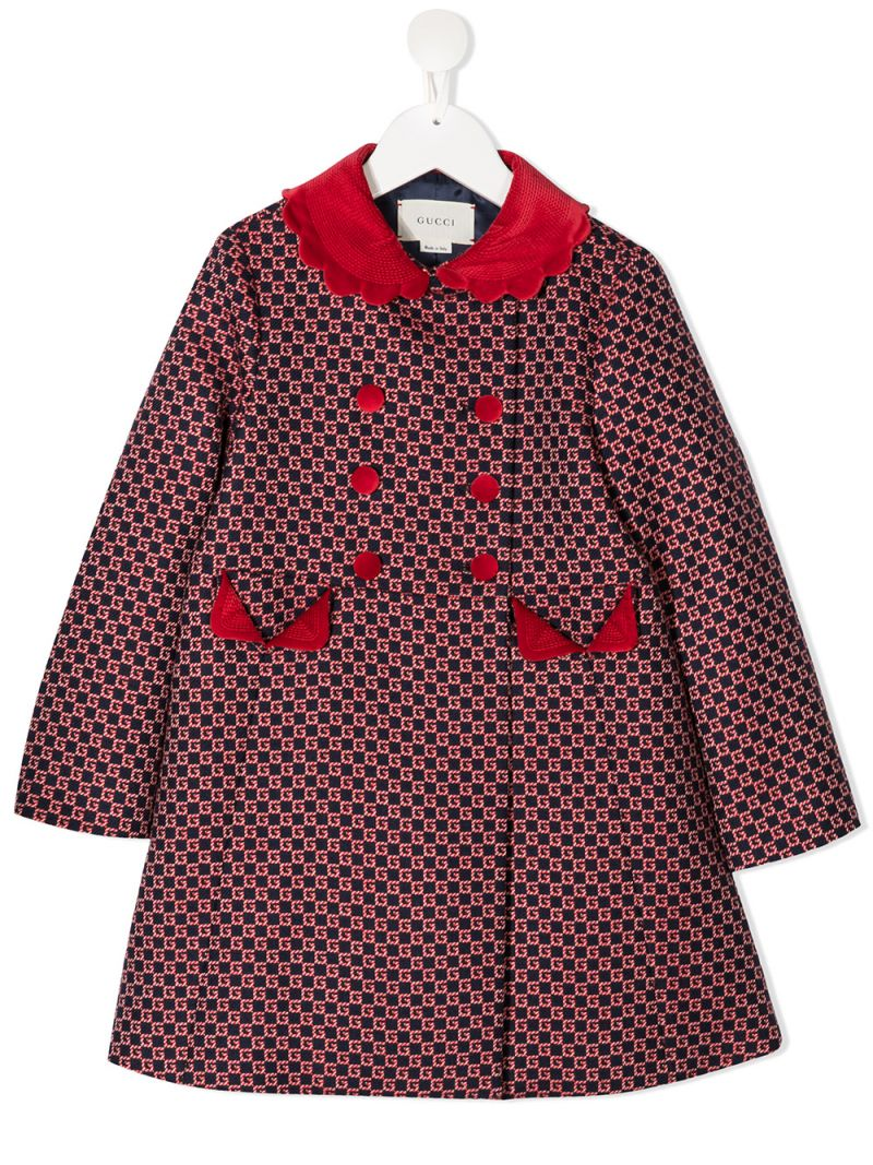 GUCCI CHILDREN: double-breasted GG wool blend coat Color Blue_1