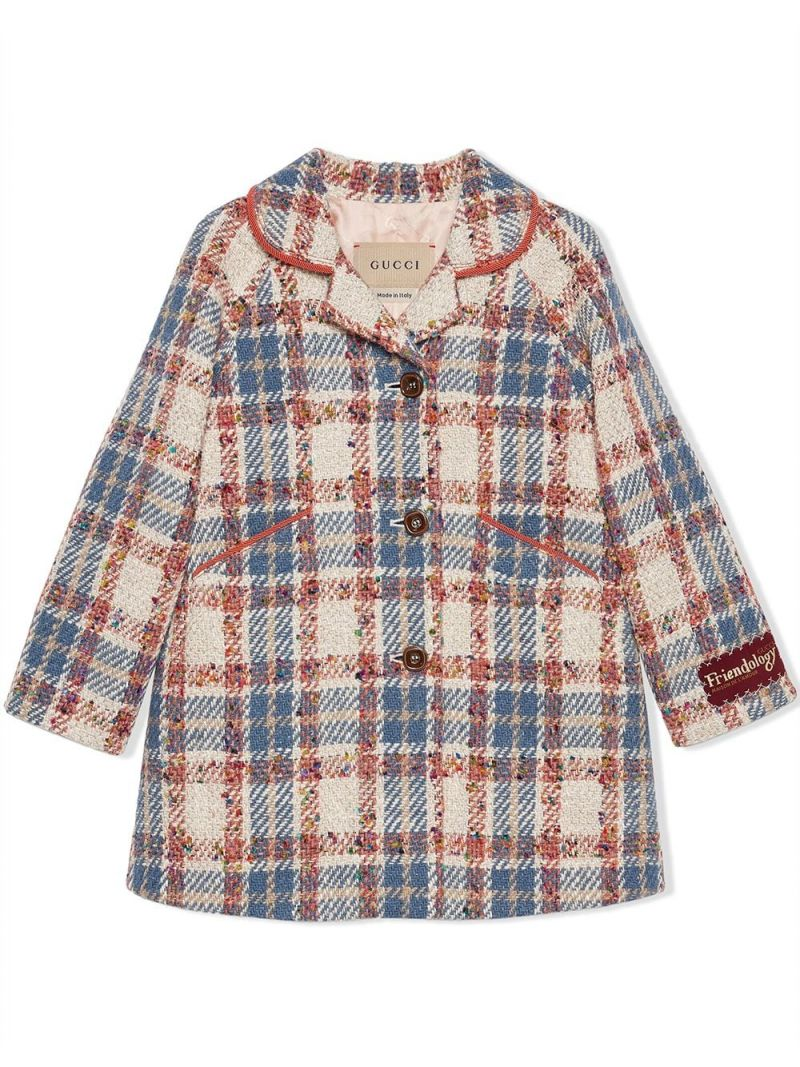 GUCCI CHILDREN: single-breasted check wool blend coat Color Blue_1