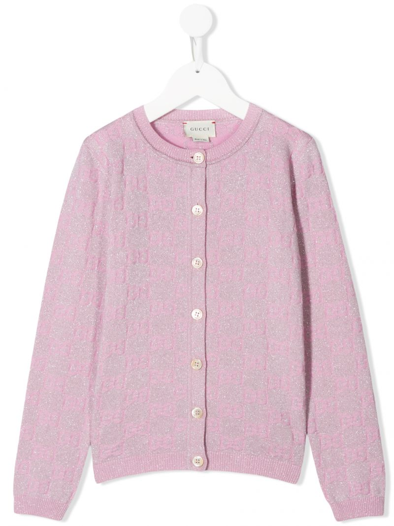 GUCCI CHILDREN: GG wool blend cardigan Color Pink_1