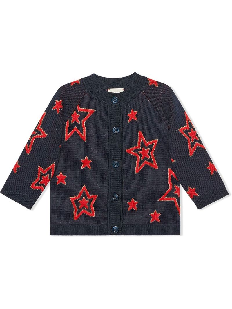 GUCCI CHILDREN: star wool jacquard cardigan Color Multicolor_1