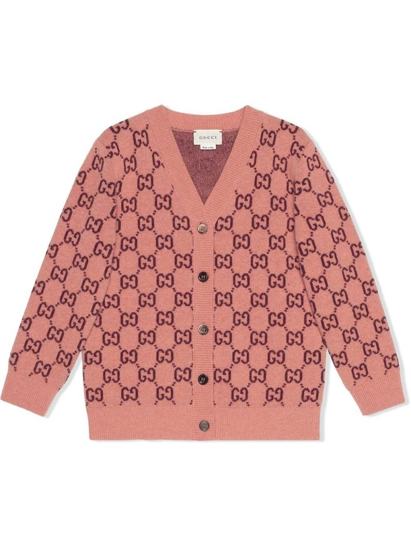 GUCCI CHILDREN: GG wool cardigan Color Pink_1