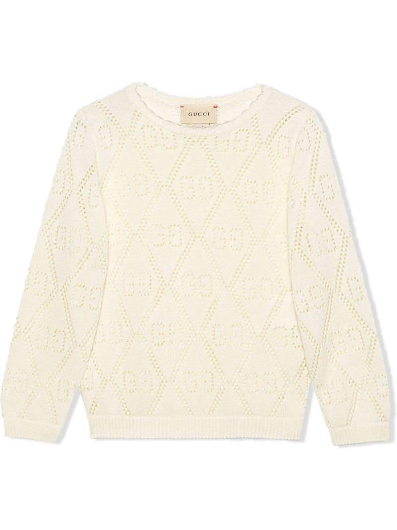 GUCCI CHILDREN: GG perforated knit cotton pullover Color White_1