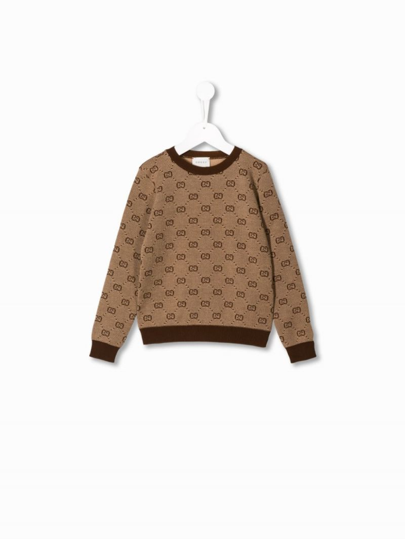 GUCCI CHILDREN: GG wool cotton pullover Color Multicolor_1