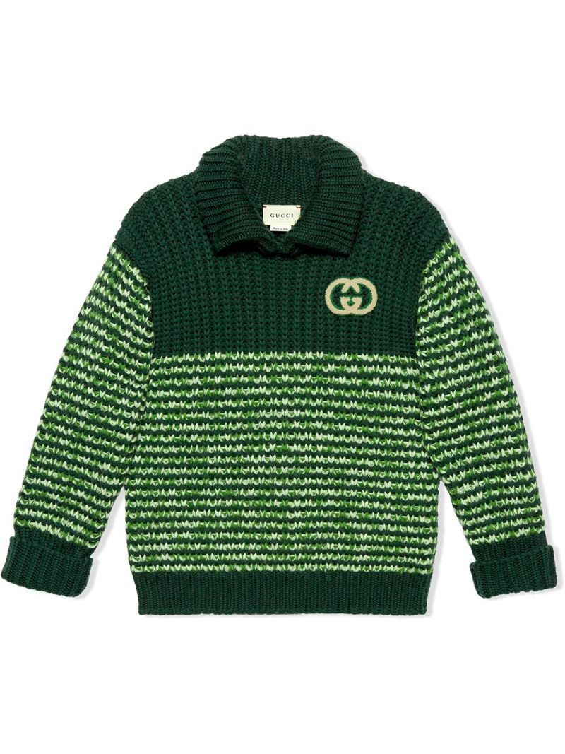 GUCCI CHILDREN: pullover in lana moulinè patch GG Colore Verde_1
