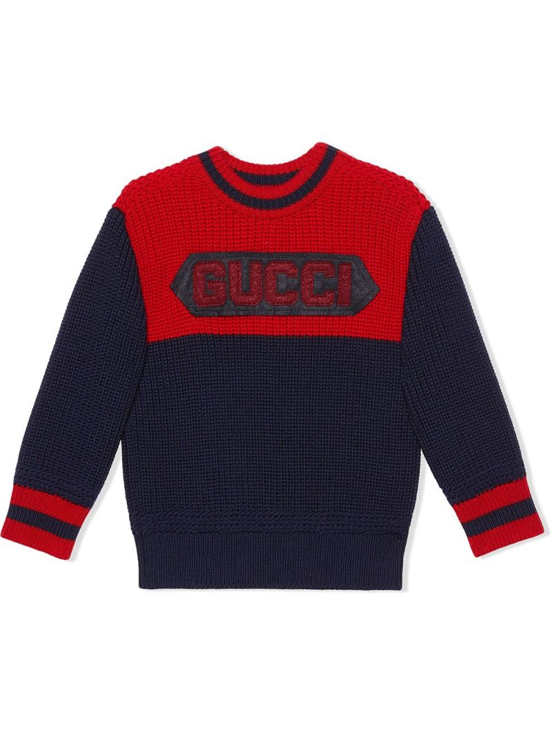 GUCCI CHILDREN: pullover in lana patch Gucci Colore Blu_1