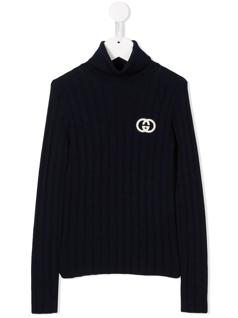 GUCCI CHILDREN: Interlocking G embroidered wool turtleneck Color Blue_1