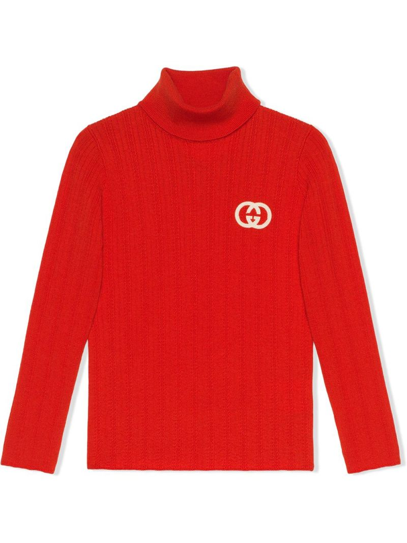 GUCCI CHILDREN: Interlocking G embroidered wool turtleneck Color Orange_1