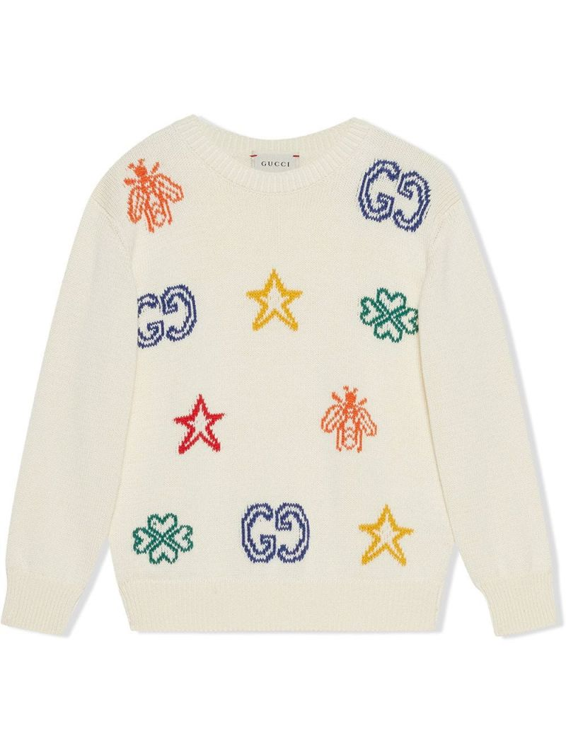 GUCCI CHILDREN: symbols intarsia cotton pullover Color White_1