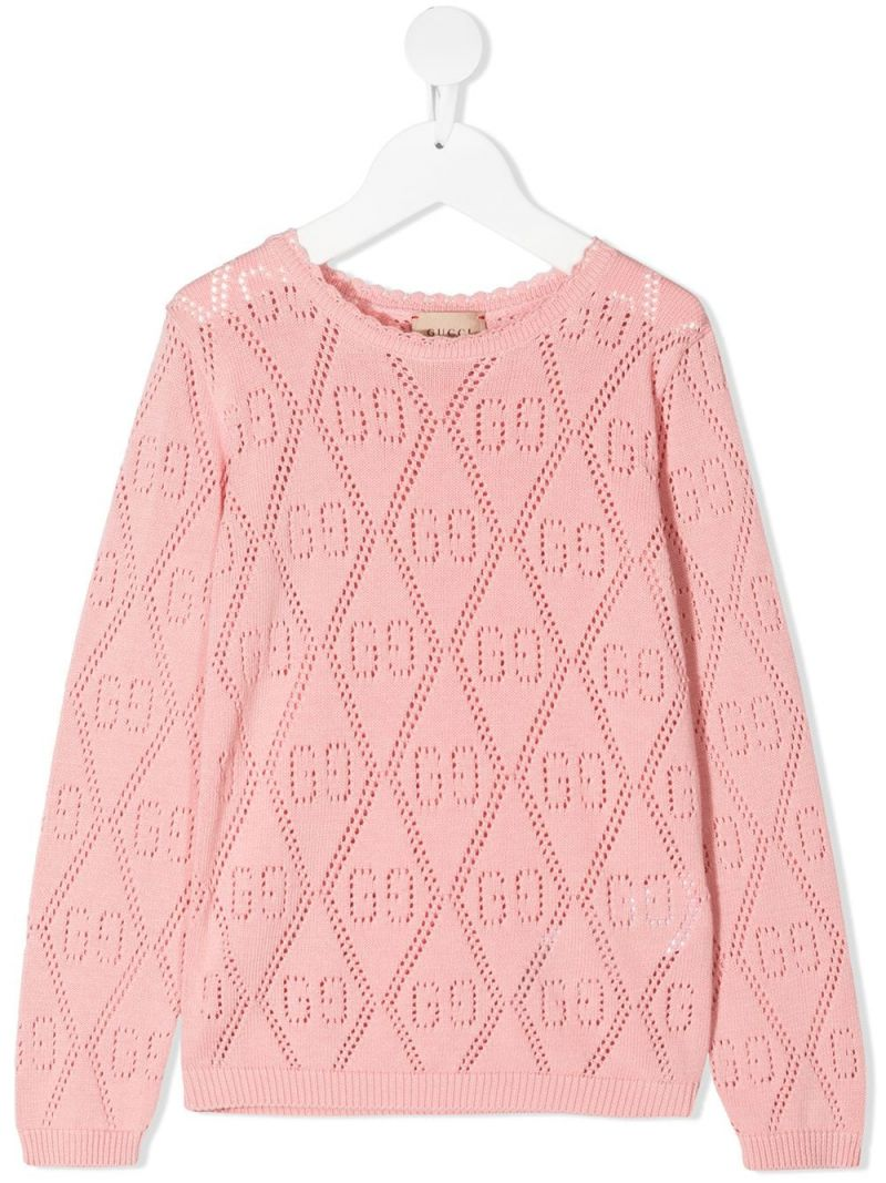 GUCCI CHILDREN: GG perforated knit pullover Color Pink_1
