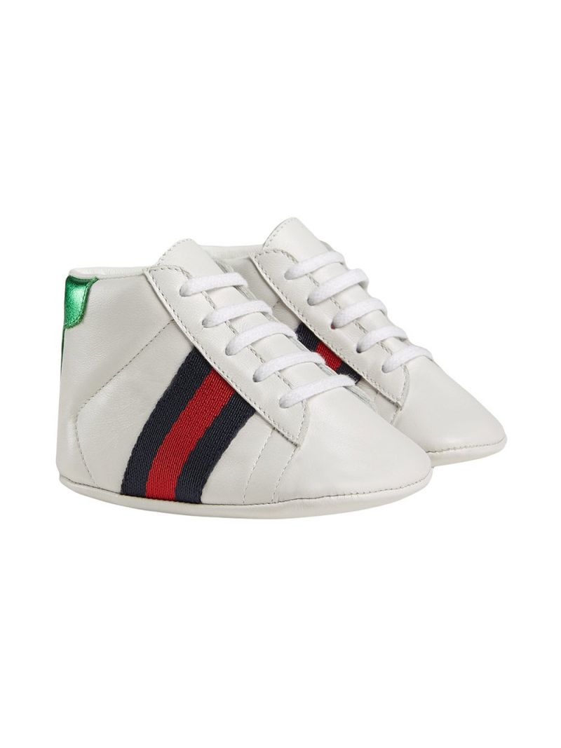 GUCCI CHILDREN: leather sneakers with Web detail Color Multicolor_1