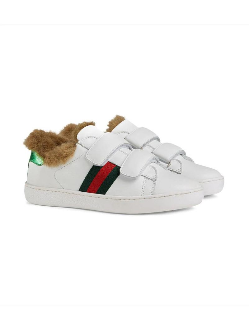 GUCCI CHILDREN: leather sneakers with faux fur lining Color Multicolor_1