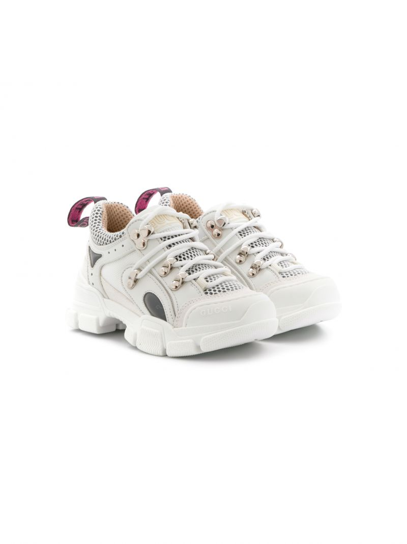 GUCCI CHILDREN: Flashtrek sneakers in leather and mesh Color White_1