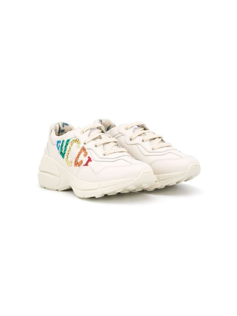 GUCCI CHILDREN: Rhyton smooth leather sneakers Color White_1