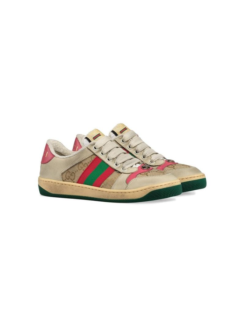 GUCCI CHILDREN: sneaker Screener in nabuk e canvas Colore Multicolore_1