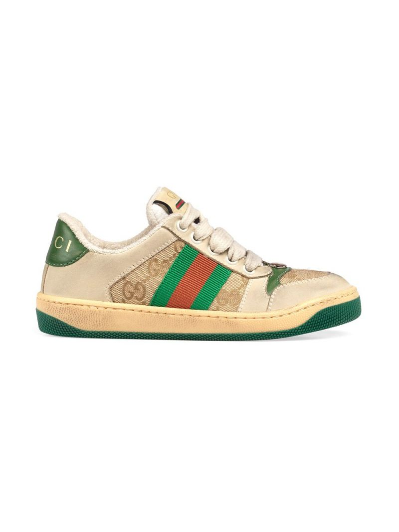 GUCCI CHILDREN: Screener nabuk and canvas sneakers Color Multicolor_1