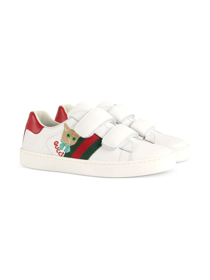 GUCCI CHILDREN: Ace leather sneakers with cat embroidery Color Green_1