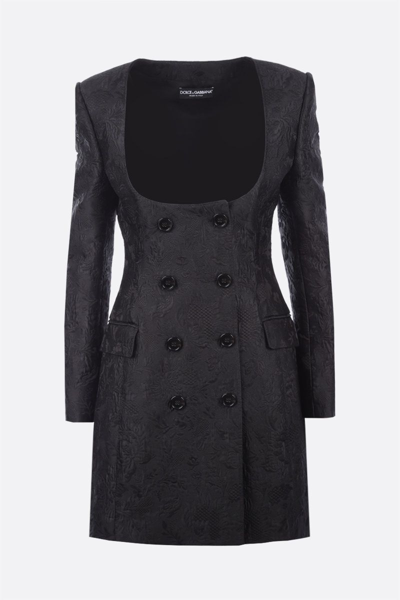 DOLCE & GABBANA: double-breasted brocade minidress Color Black_1