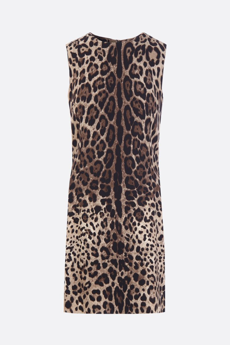DOLCE & GABBANA: leopard print stretch cady short dress Color Animalier_1