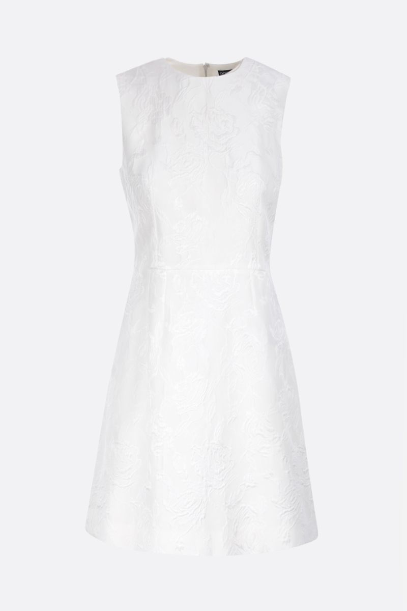 DOLCE & GABBANA: floral jacquard A-line dress Color White_1