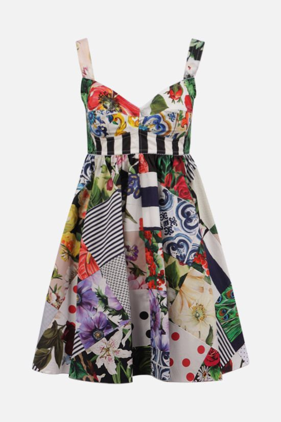 DOLCE & GABBANA: cotton patchwork short dress Color Multicolor_1