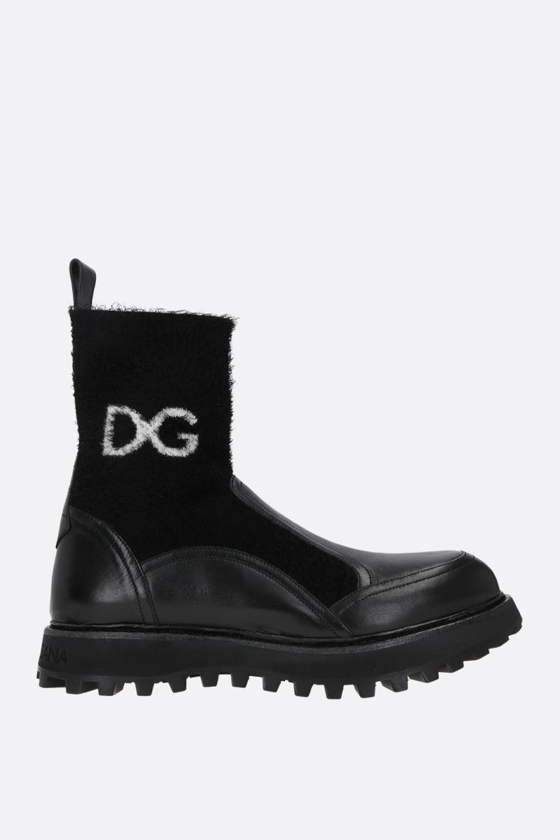 DOLCE & GABBANA: Bernini smooth leather and stretch knit ankle boots Color Black_1