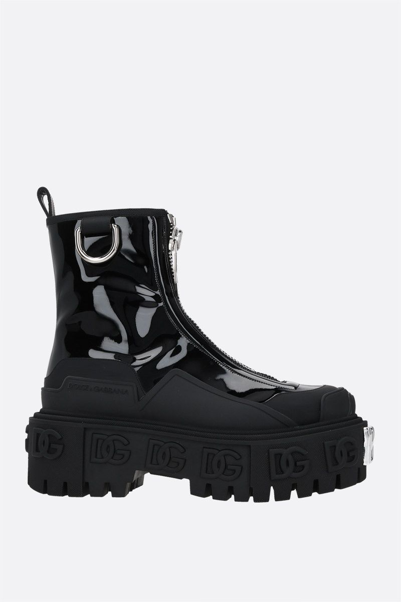 DOLCE & GABBANA: Hi-Trekking patent and rubberized leather ankle boots Color Black_1