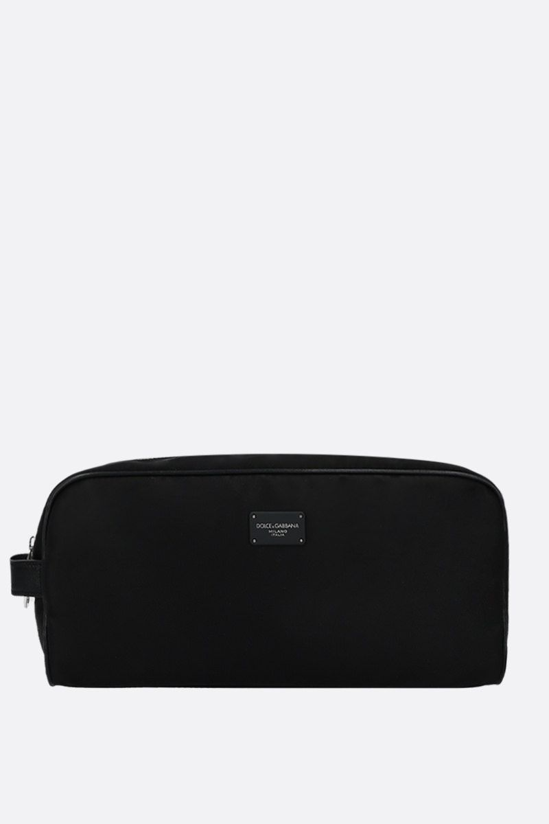 DOLCE & GABBANA: leather-detailed nylon beauty case Color Black_1