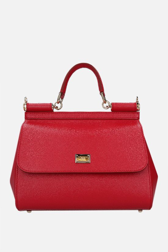 DOLCE & GABBANA: Sicily medium Dauphine leather top handle bag Color Red_1