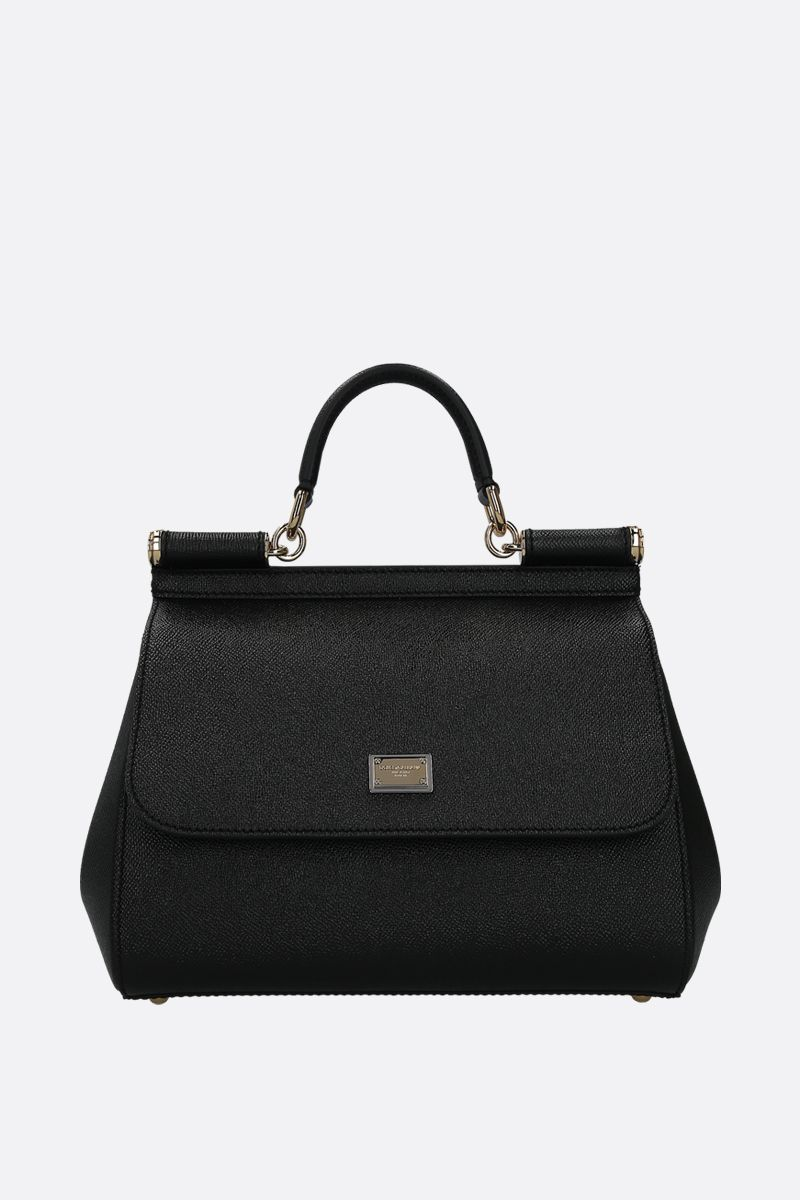 DOLCE & GABBANA: Sicily medium Dauphine leather top handle bag Color Black_1