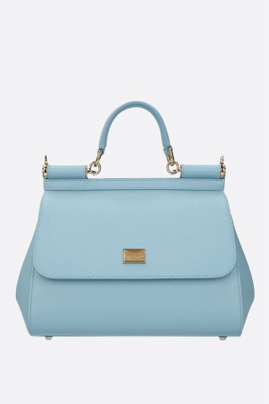 DOLCE & GABBANA: Sicily medium Dauphine leather handbag Color Blue_1