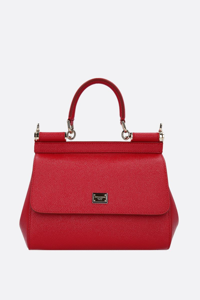 DOLCE & GABBANA: Sicily small Dauphine leather top handle bag Color Red_1