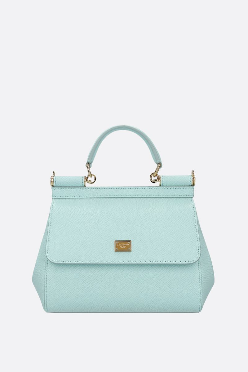 DOLCE & GABBANA: Sicily small Dauphine leather top handle bag Color Blue_1