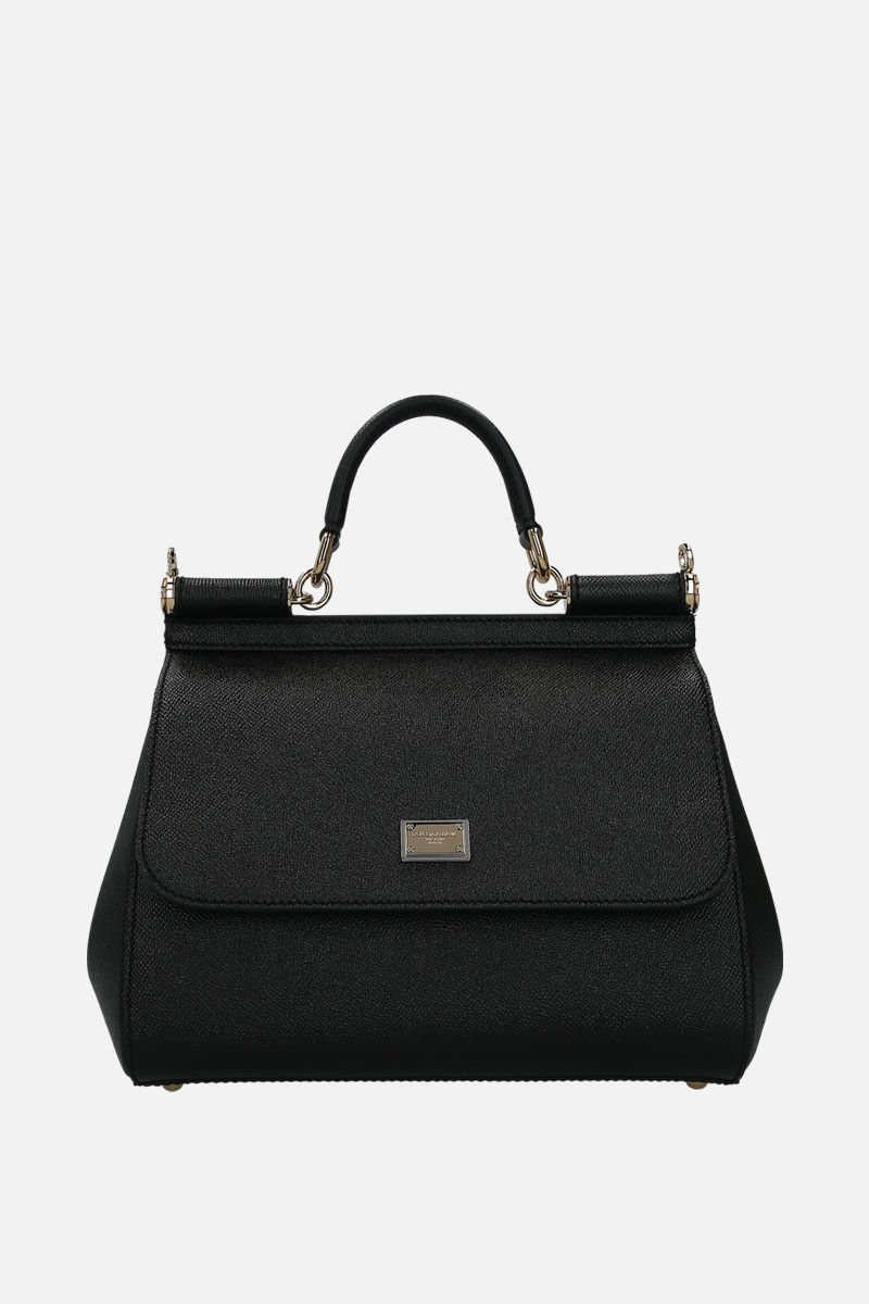 DOLCE & GABBANA: Sicily small Dauphine leather top handle bag Color Black_1