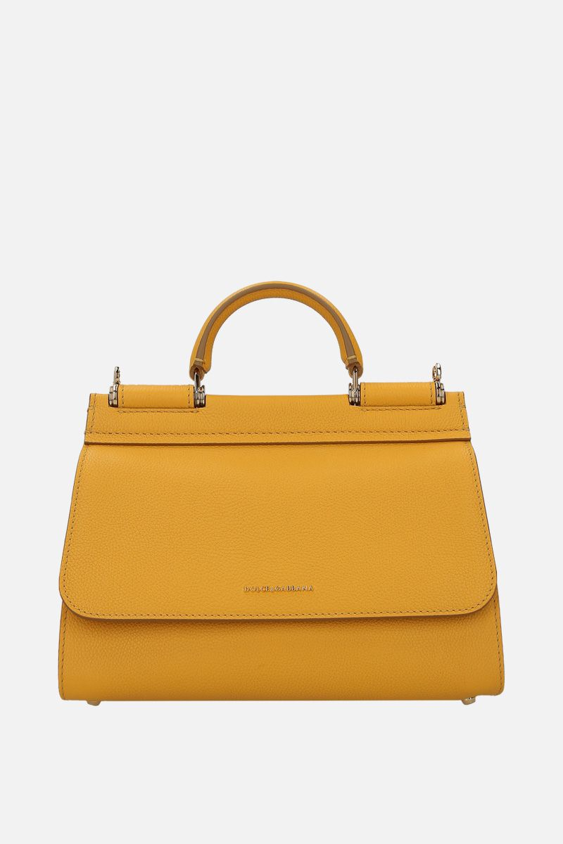 DOLCE & GABBANA: Sicily Soft small handbag in grainy leather Color Yellow_1