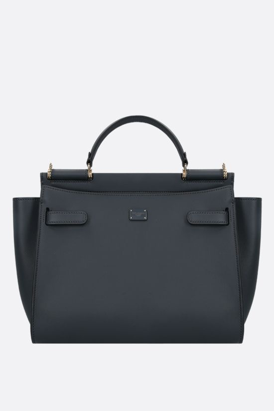 DOLCE & GABBANA: Sicily medium smooth leather handbag Color Grey_1