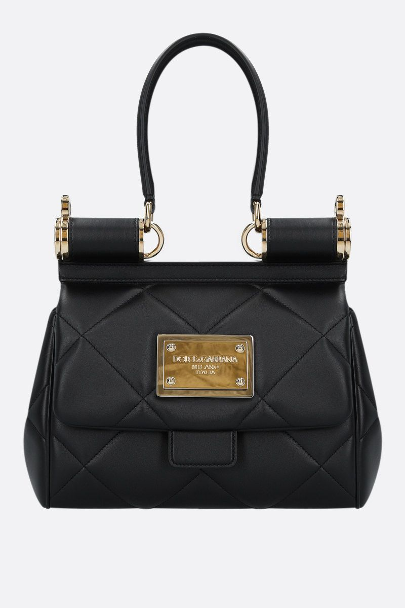 DOLCE & GABBANA: Sicily medium quilted leather top handle bag Color Black_1