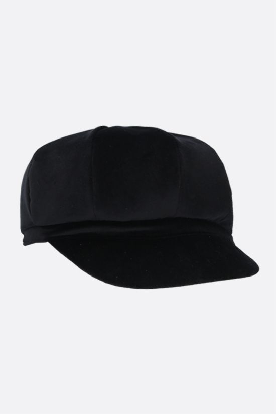 DOLCE & GABBANA: DG-detailed velvet baker boy cap Color Black_2