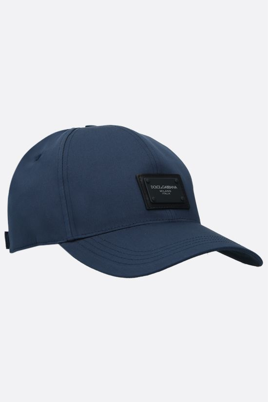 DOLCE & GABBANA: logo plate-detailed canvas baseball cap Color Blue_2