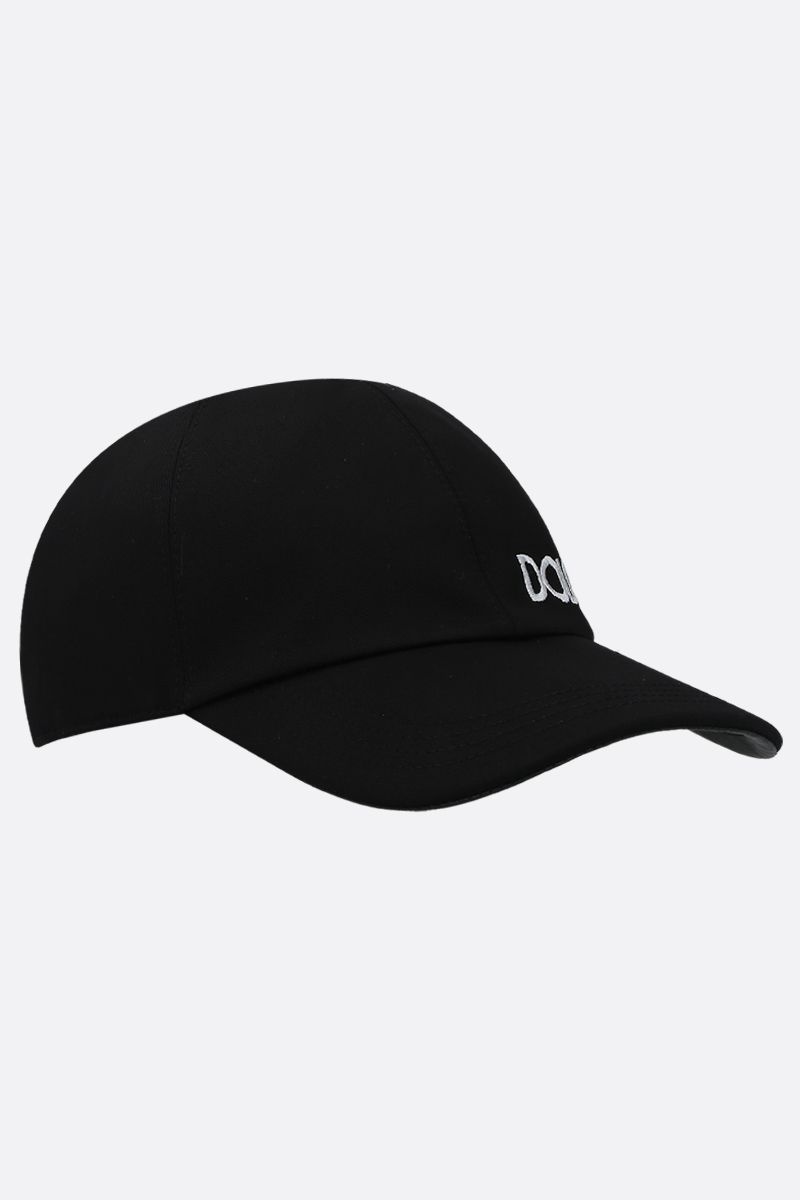 DOLCE & GABBANA: logo embroidered canvas baseball cap Color Black_2